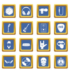 rock music icons set blue vector image