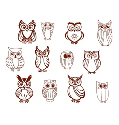 Set of owls vector image vector image