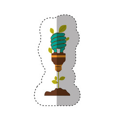 Sticker of plant stem with leaves and fluorescent vector