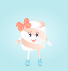 A funny girl marshmallow with bow cartoon vector