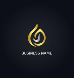 abstract droplet gold logo vector image