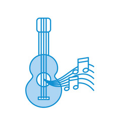 acoustic guitar with music notes vector image