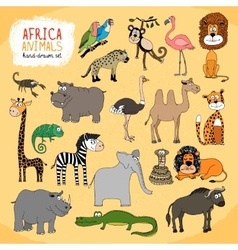 Animals of Africa hand-drawn vector