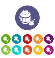barrel honey icons set color vector image
