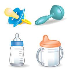 Bathings dummy bottle rattle etc vector
