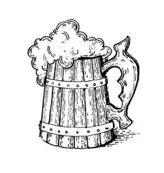beer mug engraving style vector image