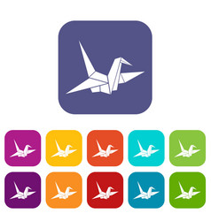 bird origami icons set vector image