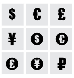 Black currency symbols icons set vector