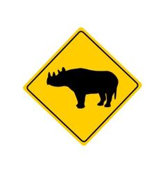 Black rhino warning sign vector