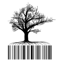 black tree contour with roots roots in the form vector image