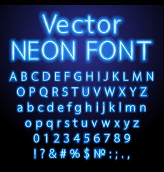 blue retro neon font luminous letter glow effect vector image