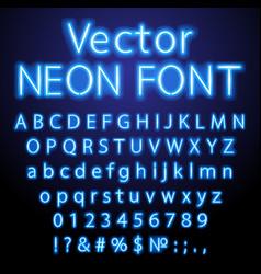 blue retro neon font luminous letter glow effect vector image