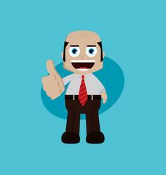 businessman manager at work thumb up cartoon art vector image