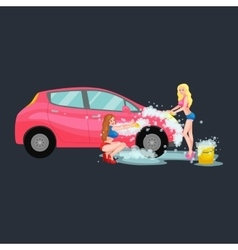 Girl Car Wash Cleaning Service Vector Images (50)
