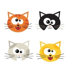 Cat emotions composite isolated on white vector