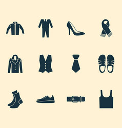 clothes icons set with sleeveless tank necktie vector image