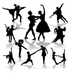 collection dancing couples silhouettes vector image