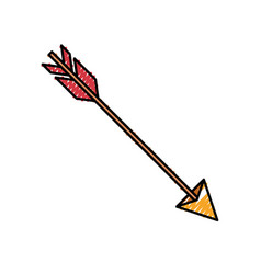 Colored crayon silhouette of hunting arrow vector