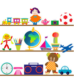 Colorful baby toys on shelves vector