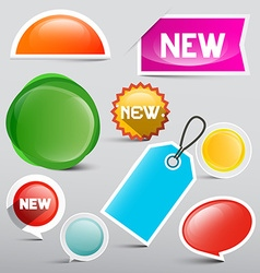 Colorful Tags Set Glossy Abstract Labels Icons for vector image