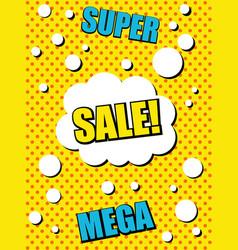Comic advertising yellow template vector