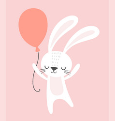 cute birthday rabbit with a party balloon funny vector image