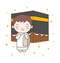 cute boy praying in kaaba muslim kid vector image