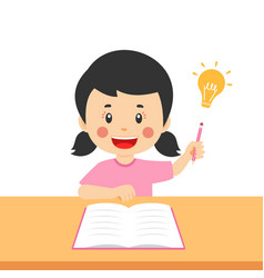 Cute kid girl study hard think vector