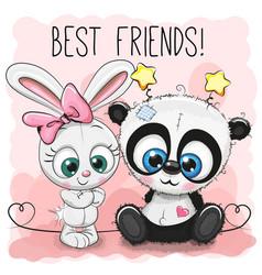 Cute panda and rabbit girl vector
