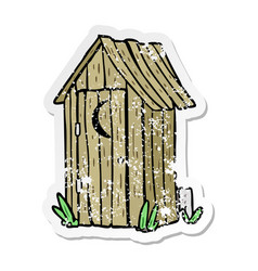 Distressed sticker of a cartoon outdoor toilet vector