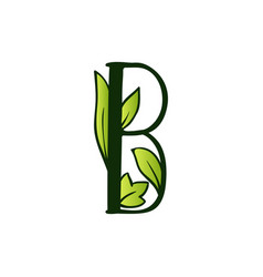 Doodling eco alphabet letter btype with leaves vector