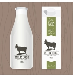 Eco design concept for milk bottle and packaging vector image