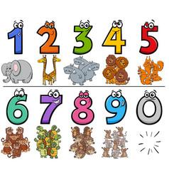 Educational cartoon numbers set with wild animal vector