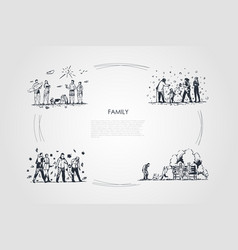 family - family spending time together outdoors vector image