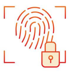 Fingerprint and lock flat icon fingerprint vector