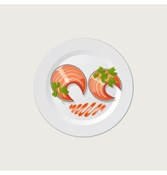 Fish on a white plate vector