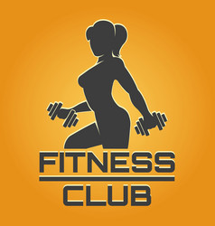 fitness emblem on yellow background vector image