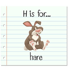 Flashcard letter h is for hare vector
