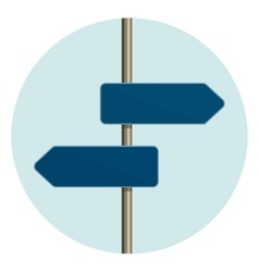 Flat design round icon of directional arrow road vector