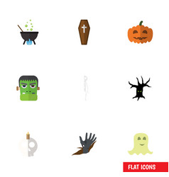Flat icon festival set of zombie casket spirit vector