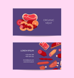 flat meat and sausages icons business card vector image