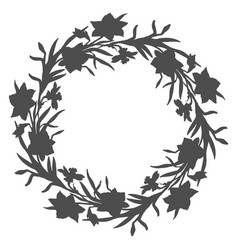 Floral circle wreath with hand drawn flowers vector