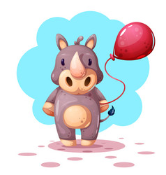 funny cute cartoon rhino characters vector image
