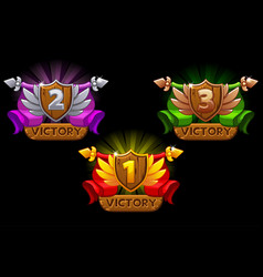 game rating icons with shields and ribbons vector image