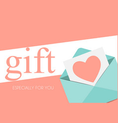 gift poster template with envelope with heart vector image
