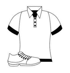 Golf shirt uniform with shoe vector