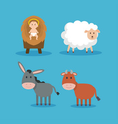 group of animals and jesus baby manger characters vector image