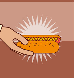 hand holding hot dog with sausage mustard vector image