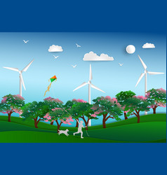Happy child playing kite in the meadow with dog vector