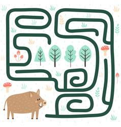 Help boar find way to forest vector